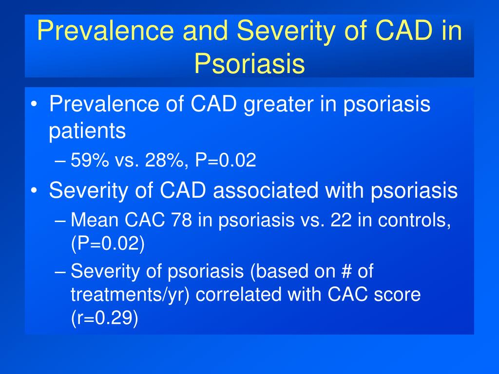 Prevalence and Severity of CAD in Psoriasis