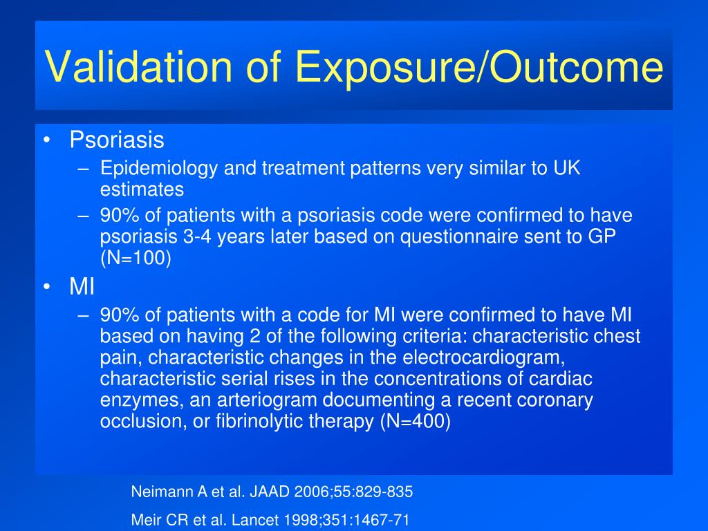 Validation of Exposure/Outcome