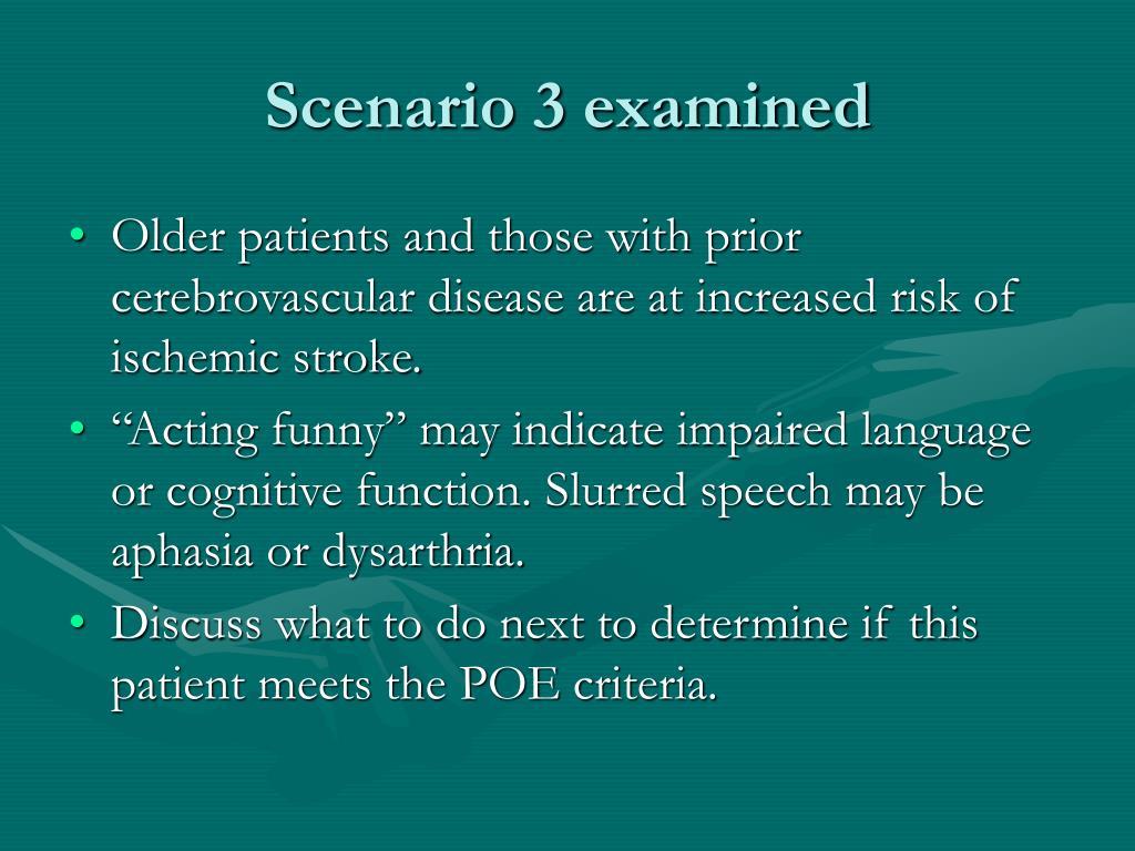Scenario 3 examined