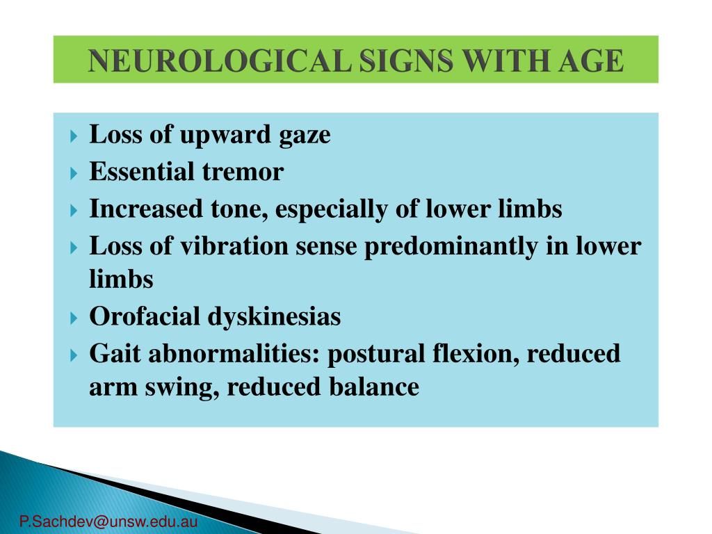 NEUROLOGICAL SIGNS WITH AGE