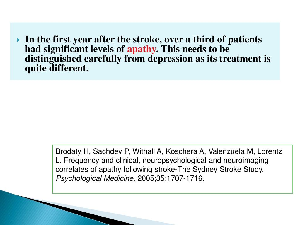 In the first year after the stroke, over a third of patients had significant levels of