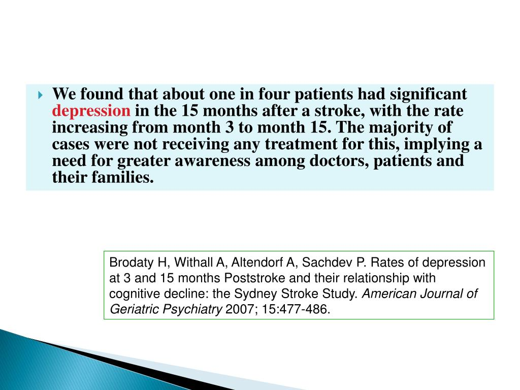 We found that about one in four patients had significant