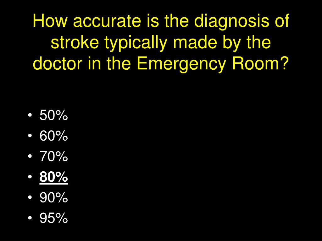 How accurate is the diagnosis of stroke typically made by the doctor in the Emergency Room?