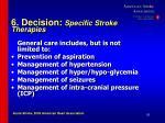 6 decision specific stroke therapies