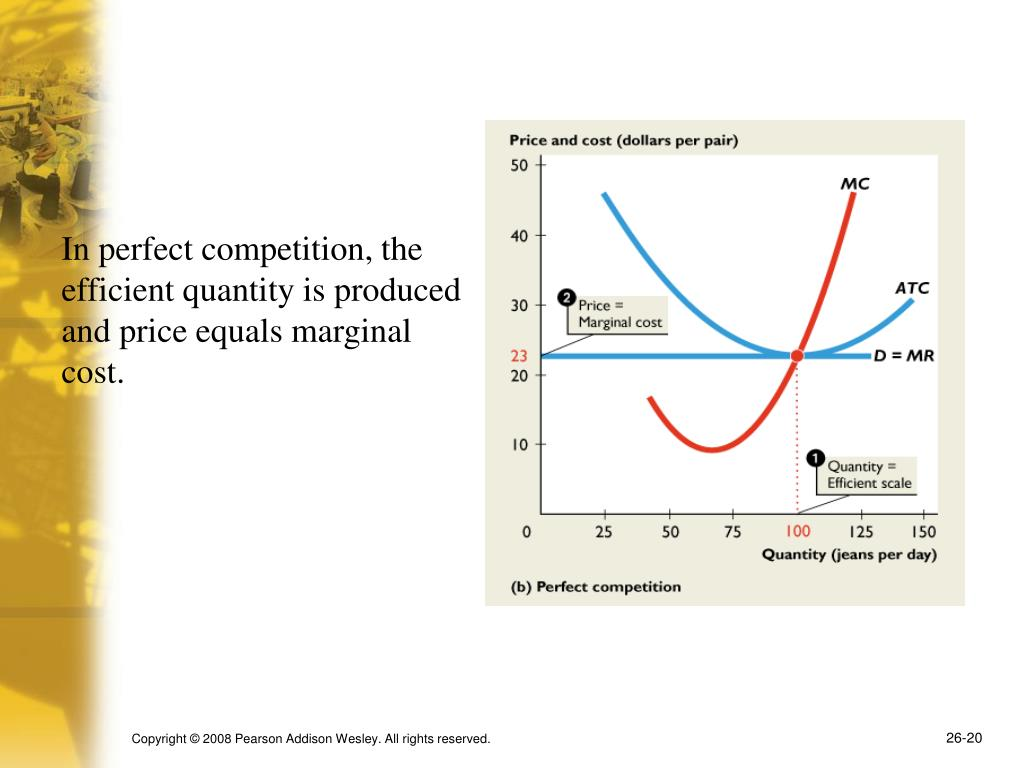 In perfect competition, the efficient quantity is produced and price equals marginal cost.