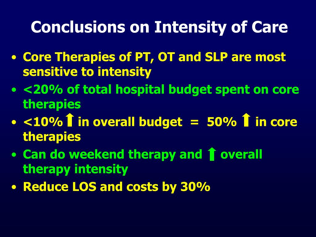 Conclusions on Intensity of Care
