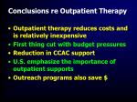 conclusions re outpatient therapy