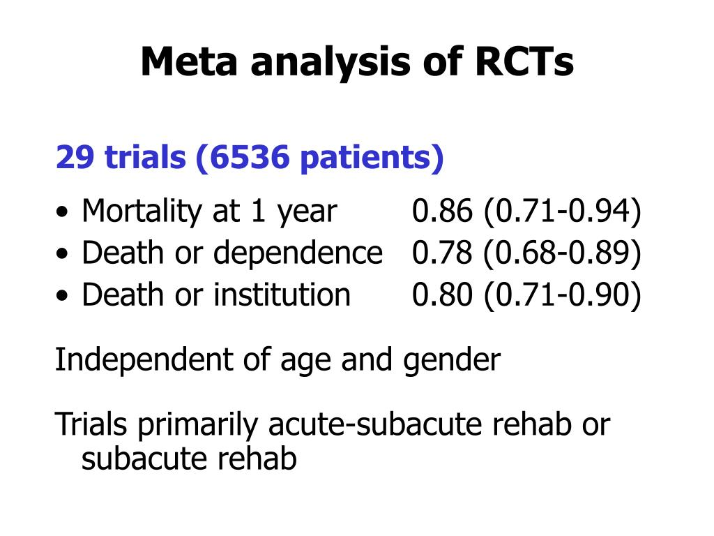 Meta analysis of RCTs