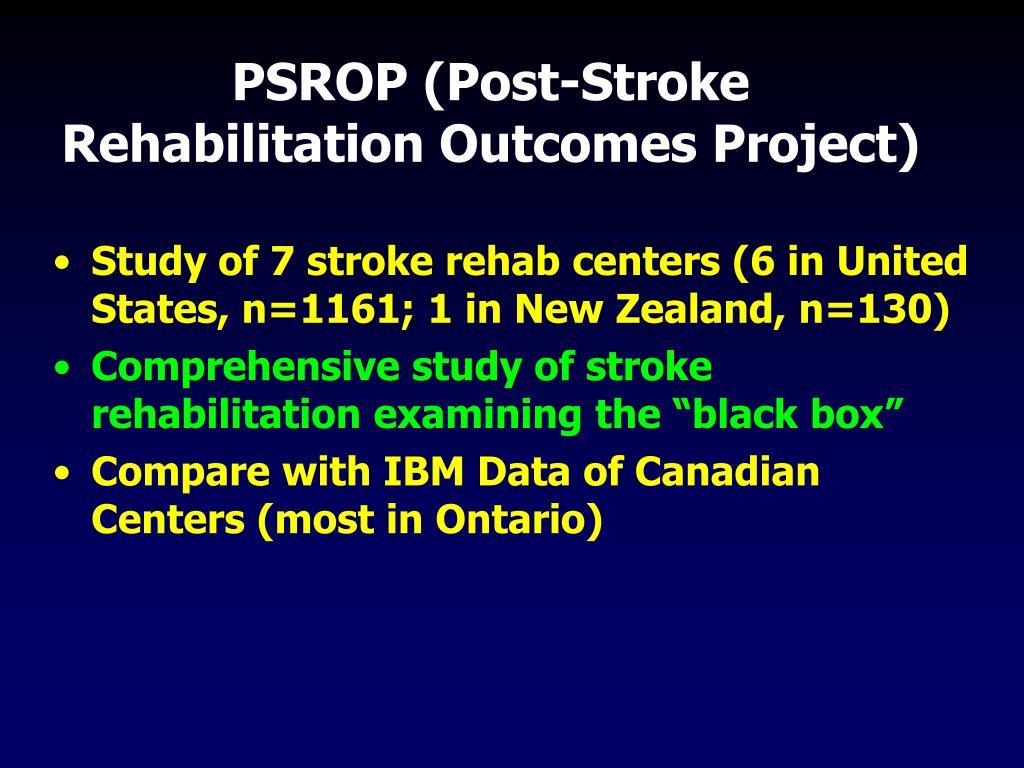 PSROP (Post-Stroke Rehabilitation Outcomes Project)