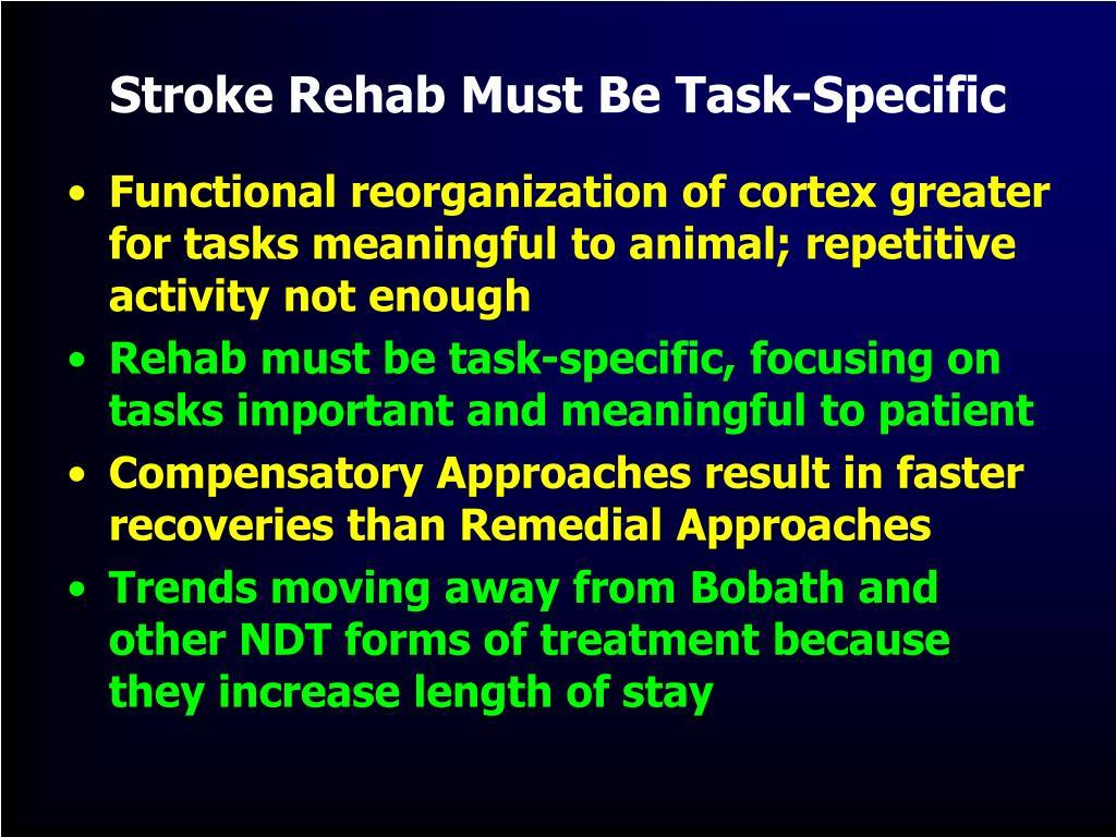 Stroke Rehab Must Be Task-Specific