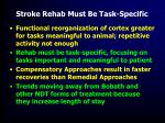 stroke rehab must be task specific