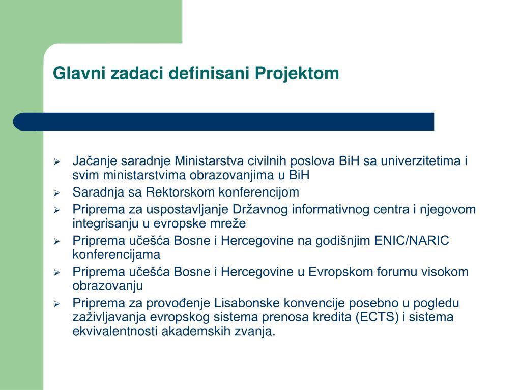 Glavni zadaci definisani Projektom