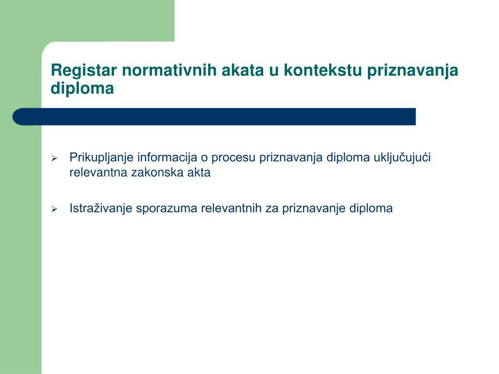 Registar normativnih akata u kontekstu priznavanja diploma
