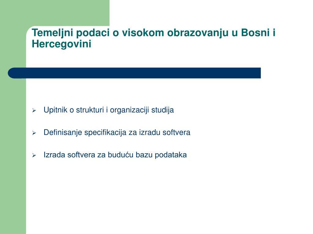 Temeljni podaci o visokom obrazovanju u Bosni i Hercegovini