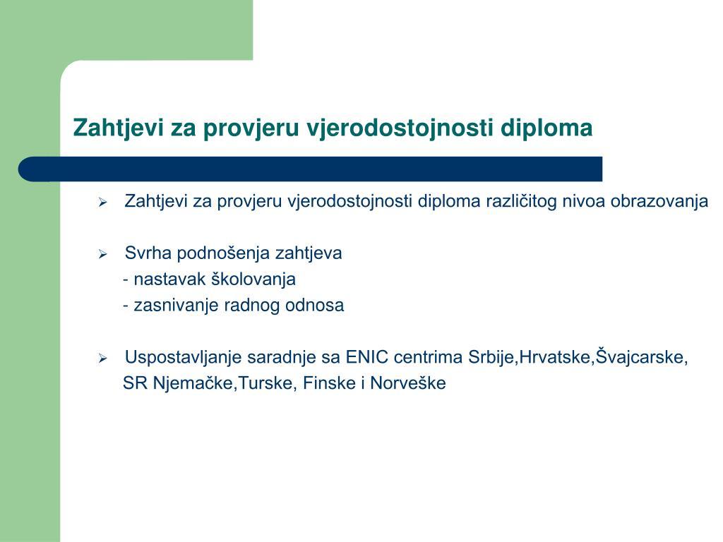 Zahtjevi za provjeru vjerodostojnosti diploma