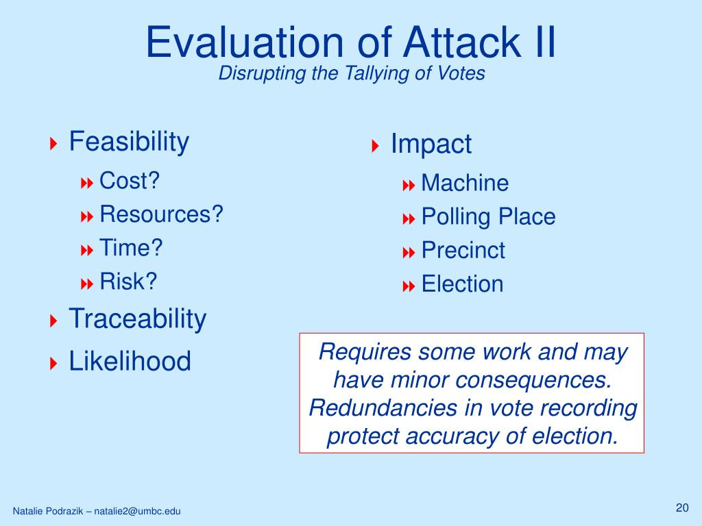 Evaluation of Attack II
