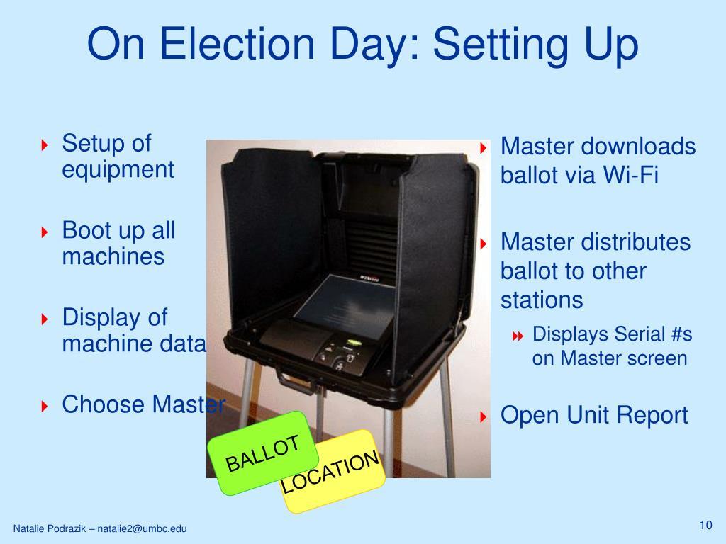 Master downloads ballot via Wi-Fi