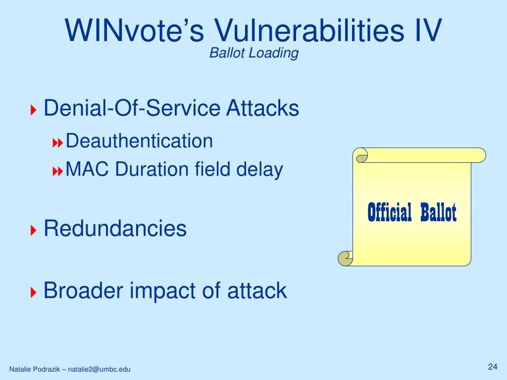 WINvote's Vulnerabilities IV