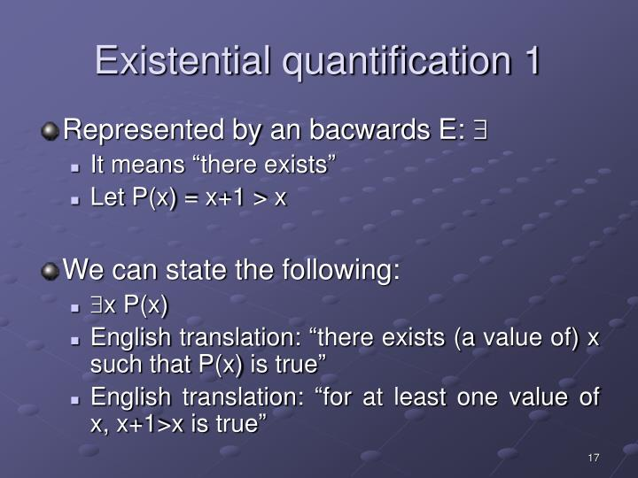 Existential quantification 1