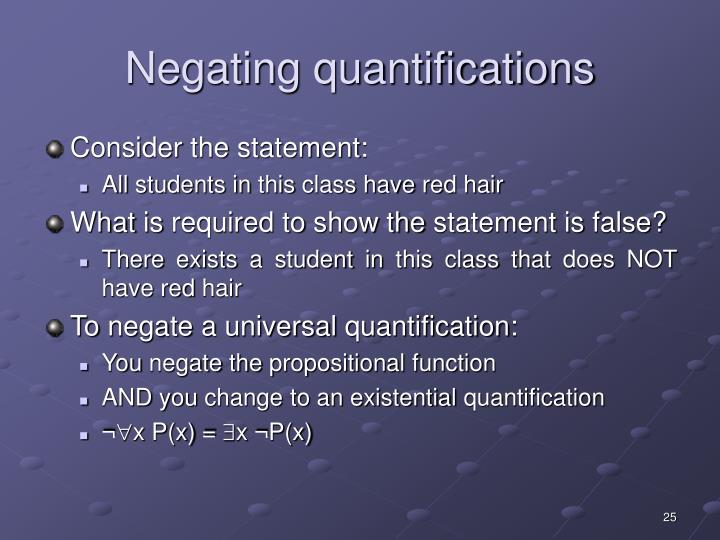 Negating quantifications