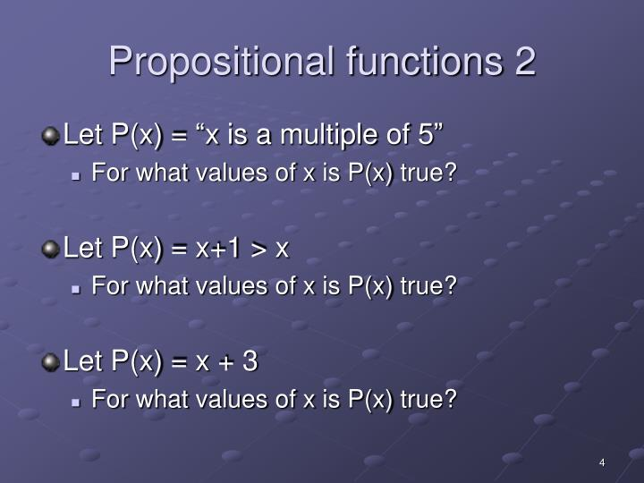 Propositional functions 2