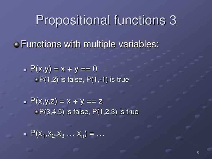 Propositional functions 3