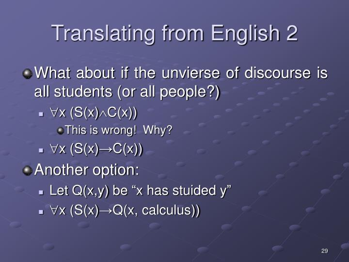 Translating from English 2