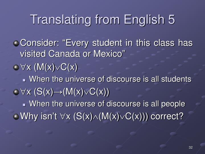 Translating from English 5