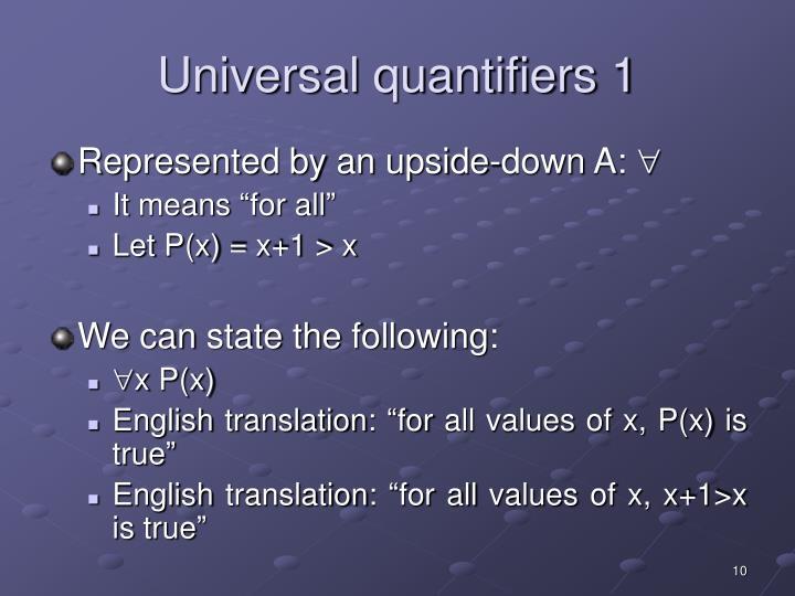 Universal quantifiers 1