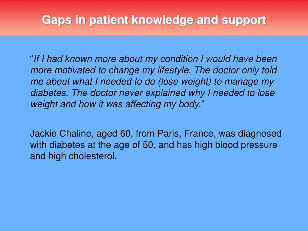 Gaps in patient knowledge and support