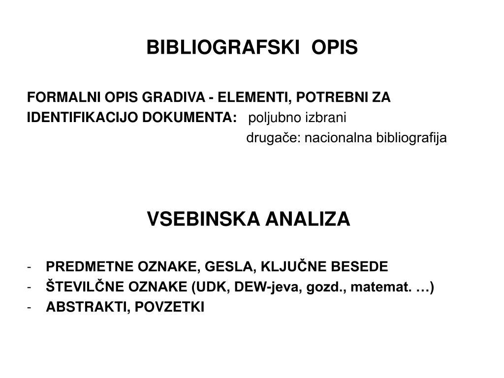 BIBLIOGRAFSKI  OPIS