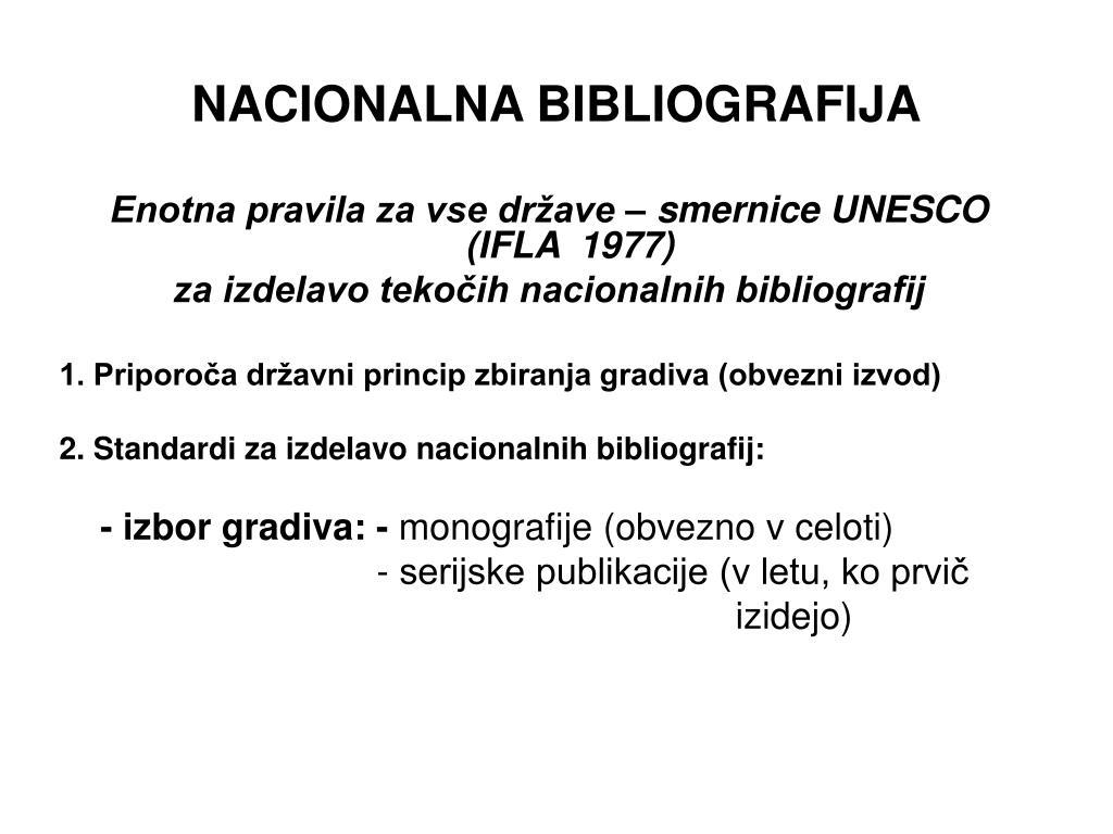 NACIONALNA BIBLIOGRAFIJA