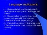 language implications