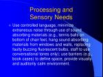 processing and sensory needs