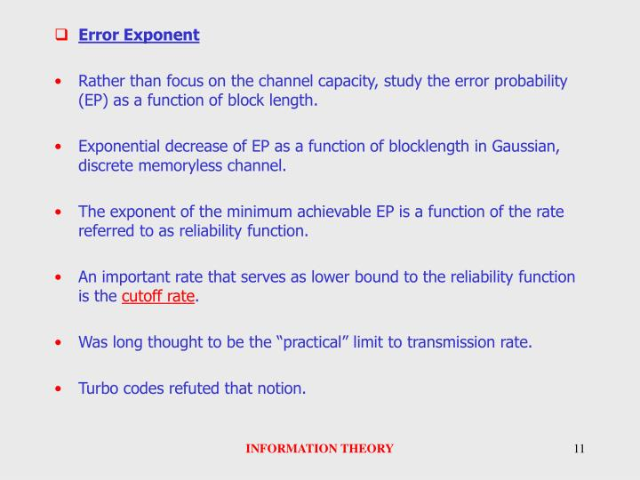 Error Exponent