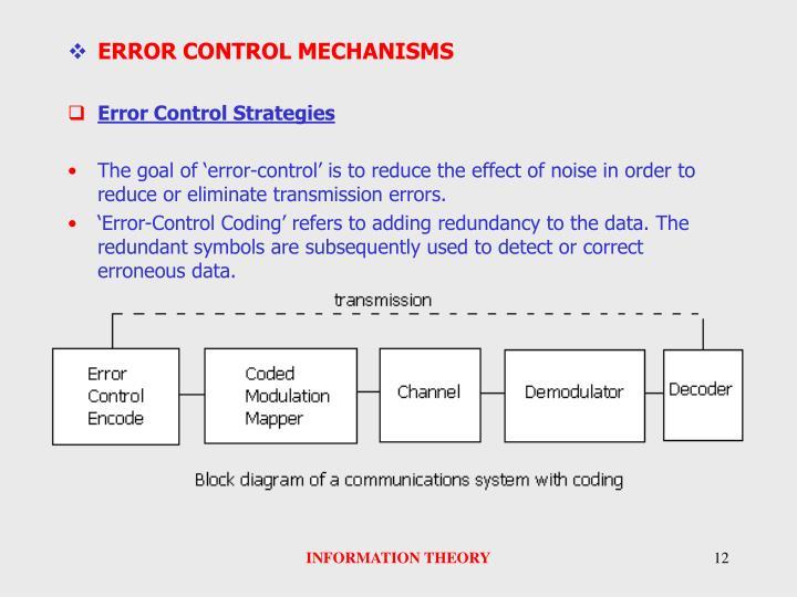 ERROR CONTROL MECHANISMS
