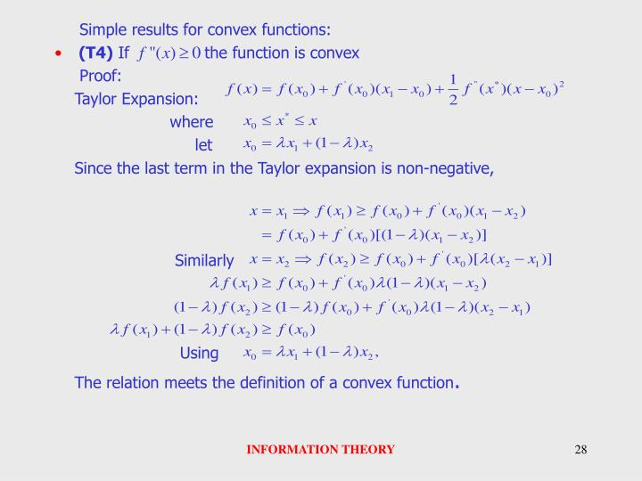 Simple results for convex functions: