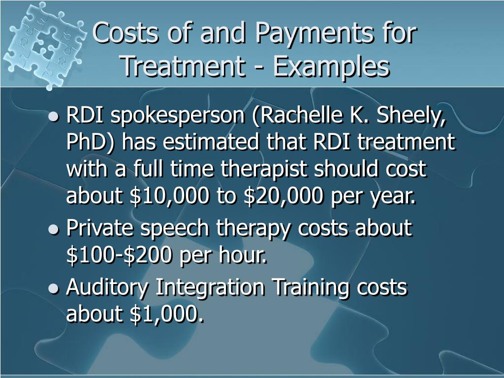 Costs of and Payments for Treatment - Examples