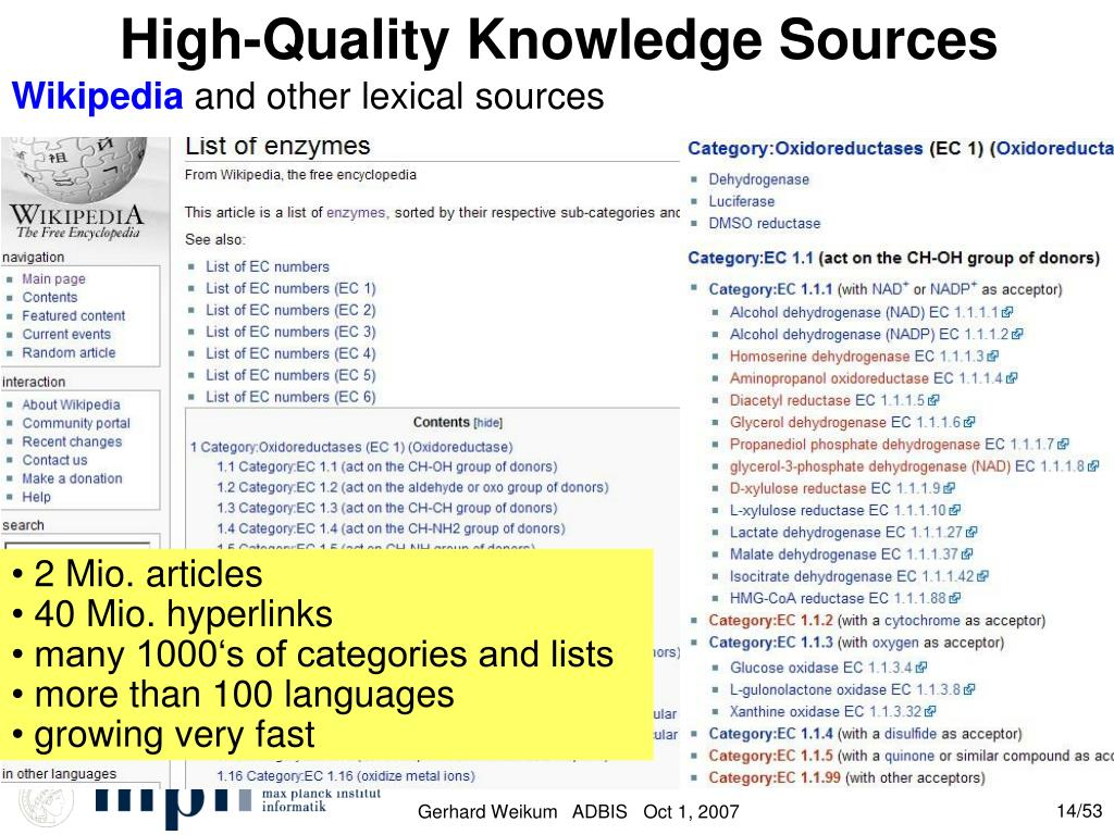 High-Quality Knowledge Sources
