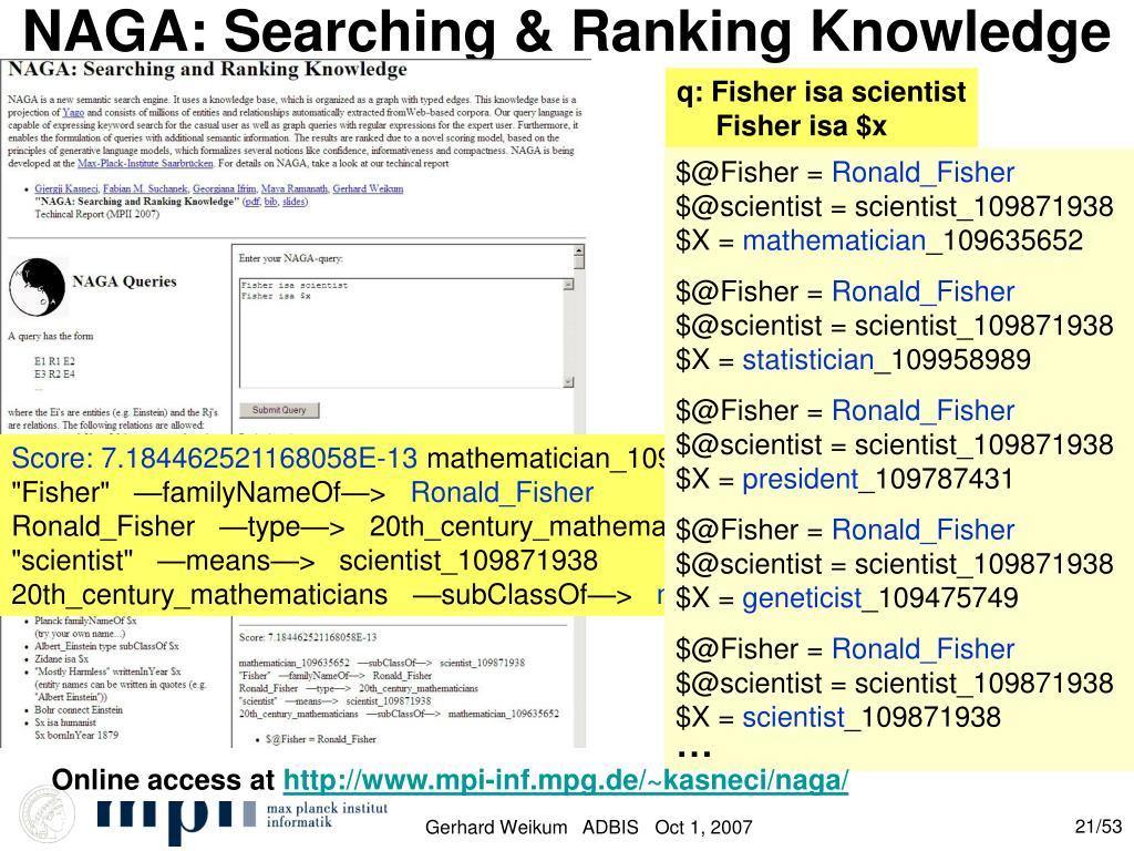 NAGA: Searching & Ranking Knowledge