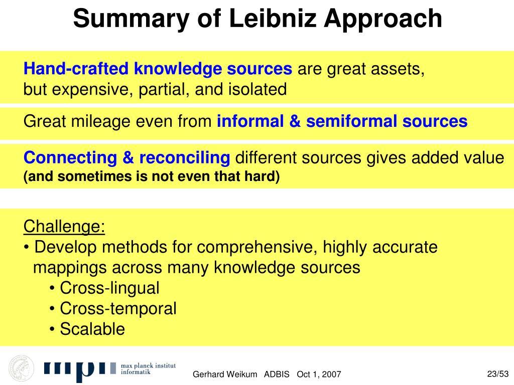 Summary of Leibniz Approach
