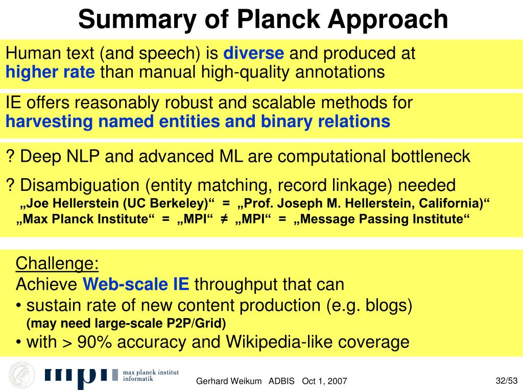 Summary of Planck Approach