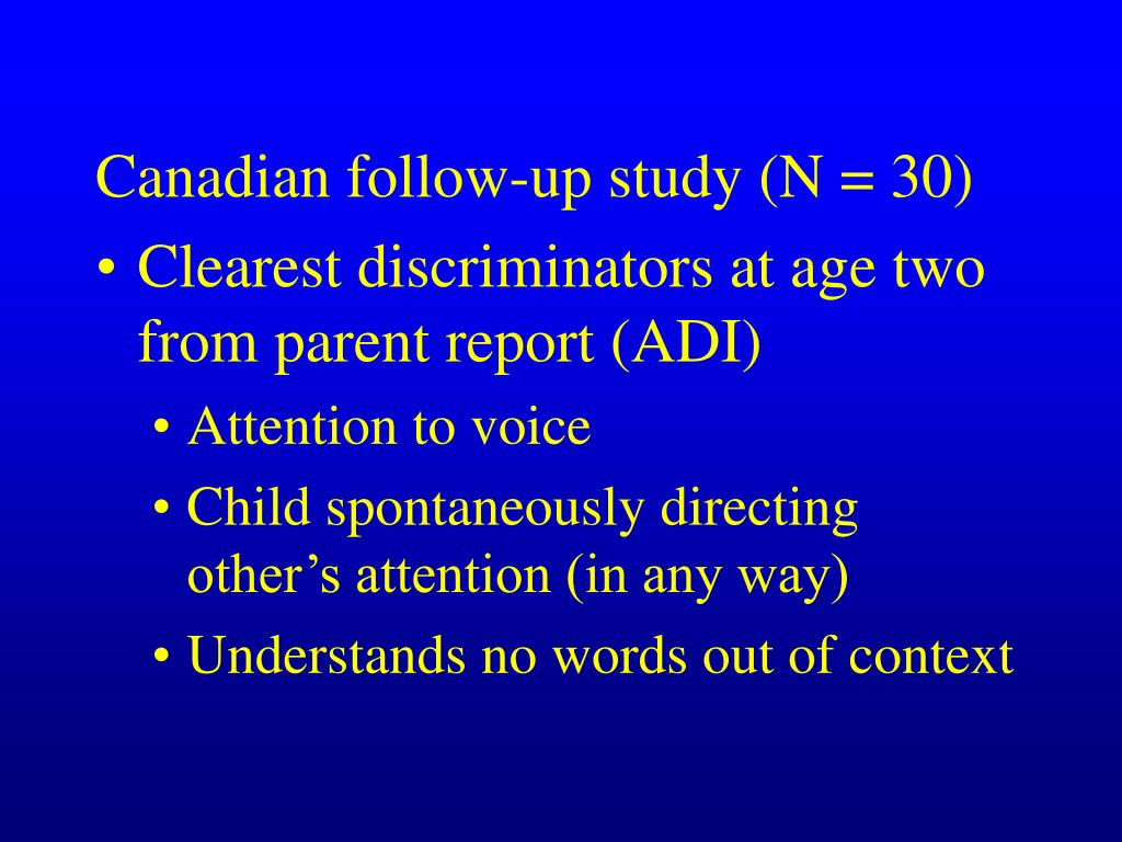 Canadian follow-up study (N = 30)