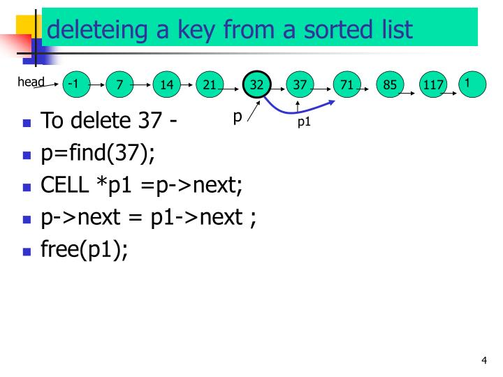 deleteing a key from a sorted list