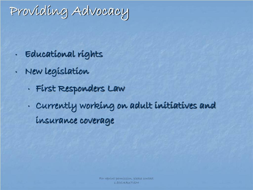 Providing Advocacy
