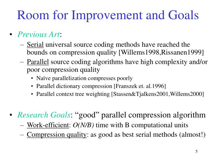 Room for Improvement and Goals