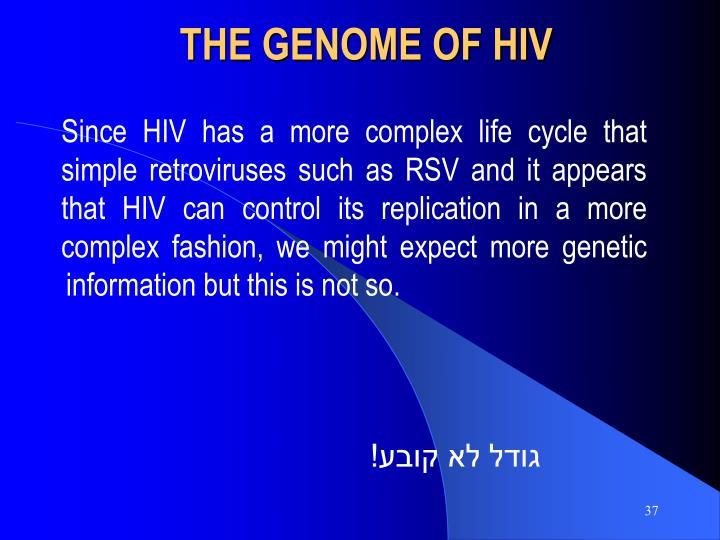 THE GENOME OF HIV
