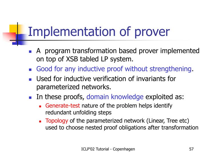 Implementation of prover