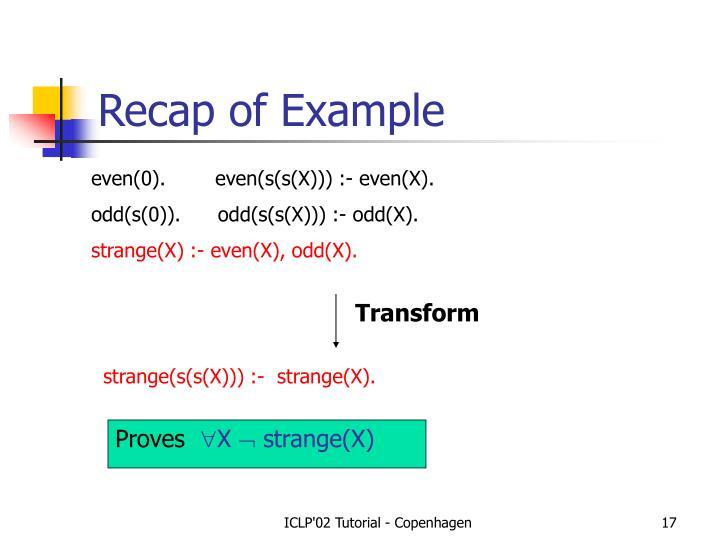 Recap of Example