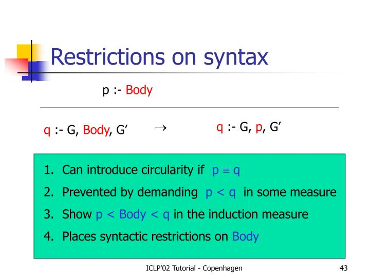 Restrictions on syntax